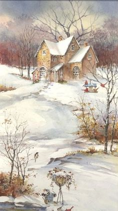 When cold winds blow... ~ by  Carolyn Shores Wright ~ (winter, snow, landscape, house, art, illustrations)