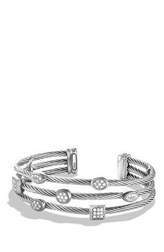 David Yurman 'Confetti' Three-Row Cuff with Diamonds available at #Nordstrom
