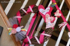 Valentine Heart & Ribbon Garland