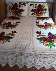 Discover thousands of images about Chelo Hernandez Designer Bed Sheets, Crochet Bedspread Pattern, Butterfly Cross Stitch, Embroidered Cushions, Vintage Crochet, Bed Covers, Fabric Painting, Bed Spreads, Quilting Projects