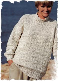 Instant Download PDF Eighties Knitting Pattern to make a Loose Fit Oversize Baggy Slouch Sweater Unisex Sizes 30 to 44 inch Bust Chest