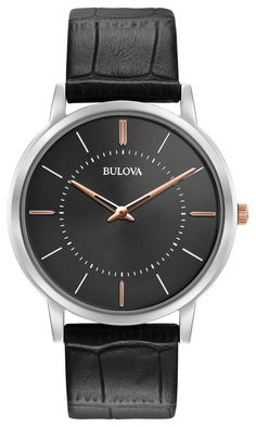 Bulova Men's Watch 98A167 with ultra-slim case, grey dial, flat mineral glass, alligator grain black leather strap with three-piece buckle closure.