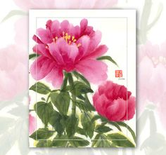 "Watercolor Chinese Brush Painting Cards  ""Peony"""