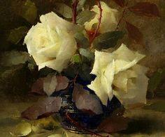 Frans Mortelmans White Roses 19th century