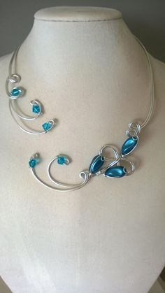 TEAL WEDDING NECKLACE, Open collar necklace Wire necklace, Teal necklace, Teal jewelry,  wire jewelry, Collier ouvert, LesBijouxLibellule