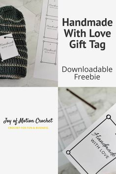 Downloadable freebie gift tag. Handmade gift tag for yarn projects. Handmade gift labels for markets. Market prep gift tags. #crochet #crochetlabel #freedownload Gift Labels, Gift Tags Printable, Crochet Patterns For Beginners, Easy Crochet Patterns, Crochet Gifts, Crochet Yarn, Love Tag, Handmade Gift Tags, Easter Crafts For Kids