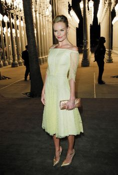 Special occasion dressing: I really love this combination - be it pale lime, citrus or  pistachio; it all works for me, with gold (or nude will work too) heels.  Divine!Kate Bosworth in Sydney.