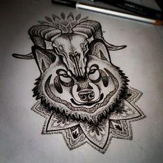 Dotwork tattoo design. #dotworkdesign #dotworkmandala #drawing #dotworktattoo #dotwork #dots #design #artwork #art #tattoodesign #tattoosketch #tattoos #wolf #ram #ramskull #skull #mandaladesign #mandala