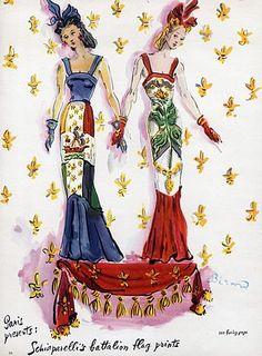 chiaparelli & Lucien Lelong, evening gowns by Christian Bérard 1940
