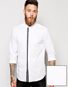ASOS Smart Shirt In Long Sleeve With Polka Dot Trim