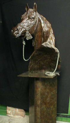 #Bronze #sculpture by #sculptor Gill Parker titled: 'life size Arab Horse Head (Warm Blood Bust Bronze sculptures/statues)'. #GillParker