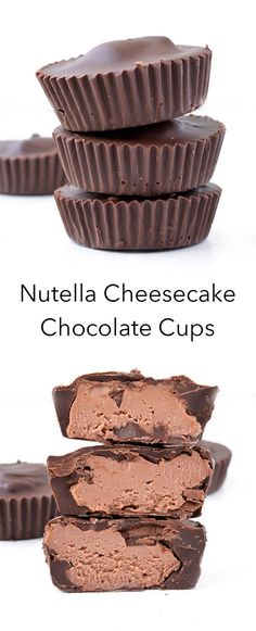 Nutella Cheesecake Chocolate Cups These 5 ingredient Nutella Cheesecake Chocolate Cups are the perfect no bake dessert! With a creamy Nutella cheesecake filling and a crunchy chocolate shell. Candy Recipes, Sweet Recipes, Baking Recipes, Dessert Recipes, Dessert Food, Healthy Recipes, Fast Recipes, Healthy Treats, No Bake Desserts