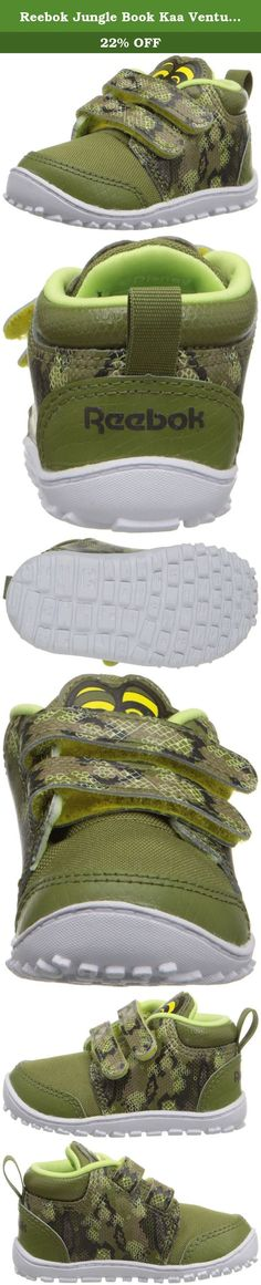 Reebok Jungle Book Kaa Ventureflex Lead Classic Shoe (Infant/Toddler), Warm Olive/Stone/Luminous Lime/Yellow/Driftwood, 3 M US Infant. From climbing the rock wall to slithering through the grass, the JB kaa VentureFlex Lead is up for anything.