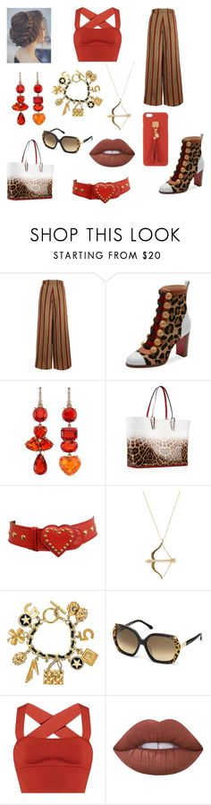 """Rust Tones Leopard"" by savannah-foster-330 ❤ liked on Polyvore featuring The Bee's Sneeze, Christian Louboutin, Irene Neuwirth, Moschino, Sydney Evan, Chanel, Roberto Cavalli, Khaite, Lime Crime and Henri Bendel"