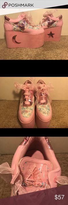 YRU x Sanrio sz 8 Pink Platform shoes YRU x Sanrio (hello kitty) platforms sz 8. Used only once. Cleaned. Pink and sparkles and sun/moon platform cutout.  SOLD YRU Shoes Platforms
