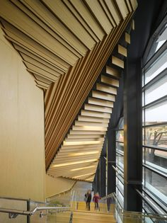 Interior shot of the new concert hall in the south of France designed by Japanese architect Kengo Kuma.