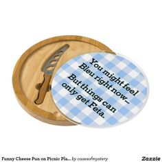 Funny Cheese Pun on Picnic Plaid- Feeling Bleu Cheese Board