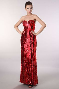 "Red ""Jessica Rabbit"" Sequin Knit Maxi Prom Pageant Dress Ball Gown"