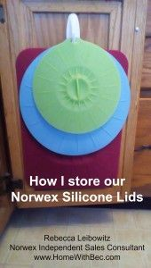 I love our Silicone Lids - they are over a year old and are holding up so well! I hang them from a Command Hook inside a kitchen cabinet. Want to know more? Contact me through my Norwex blog at www.HomeWithBec.com.