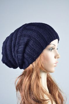 Hand knit hat woman man winter hat Navy blue Wool Hat slouchy hat- ready to  ship 034d2e2941aa
