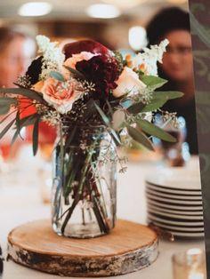 flower centerpiece #burgundy dahlia #wedding #wood#mason jar
