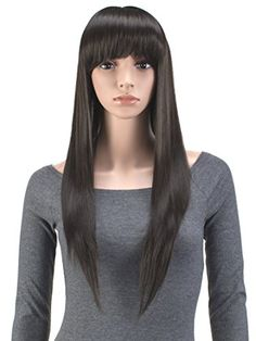 Hair Extensions & Wigs Hearty 28 Long Straight Wigs For Women Heat Resistant Falt Bangs Natural Ombre Wig Cosplay Costume Party Synthetic Hair Mapofbeauty Convenience Goods