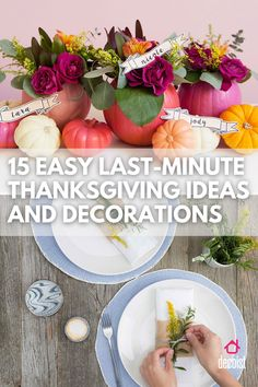 Thanksgiving table decor ideas for any style! Thanksgiving Banner, Thanksgiving Centerpieces, Thanksgiving Ideas, Tin Can Centerpieces, Table Decorations, Pumpkin Flower, Pumpkin Colors, Diy Fall Wreath, Holidays And Events