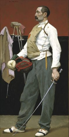 """The Fencer"" 1895 by Gari Melchers (American)  oil on canvas. Gallery label states that the man in the portrait may be a French Fencemaster named M. Louis Fonrobert. Props as used in the painting are also displayed in the artist's studio. In the collection of The Gari Melchers Home & Studio, Falmouth, VA."