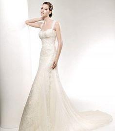 A-Line Sweetheart Long Lace Wedding Dress