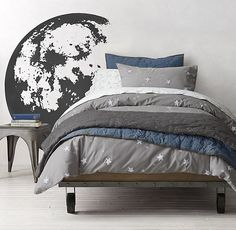 Starry Night & Galaxy Print Percale Bedding Collection