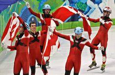 Olivier Jean, Guillaume Bastille, Charles Hamelin, Francois-Louis Tremblay and Francois Hamelin on the speed skating track!