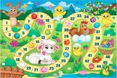 Board game image with Easter theme 1 - picture illustration. Easter Games, Easter Activities, Activities For Kids, Crafts For Kids, Board Game Template, Printable Board Games, Preschool Games, Math Games, Educational Games For Kids