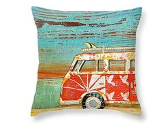 SANTA CRUISE VW BUS at the beach- Throw Art Pillow    This throw pillow is made from 100% polyester fabric that adds a stylish statement to any