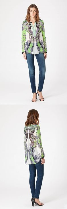 KELSEY Exclusive Hale Bob print, washed silk chiffon top with beading at front neck.