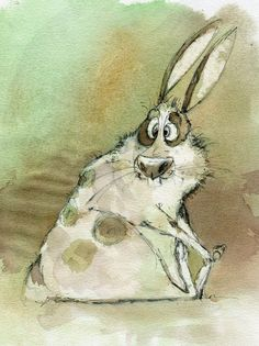 Dainius Šukys, makes me smile. Cute Animal Drawings, Animal Sketches, Cute Drawings, Illustrations, Illustration Art, Rabbit Art, Bunny Art, Happy Paintings, Texture Art