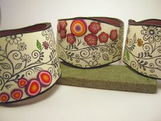 Bracelets | Debbie Crothers.  'Floral Bangles'.  Stamping on Polymer Clay