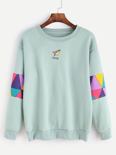 15$ Buy here - http://difqc.justgood.pw/go.php?t=12559 - Pale Green Patchwork Print Sweatshirt