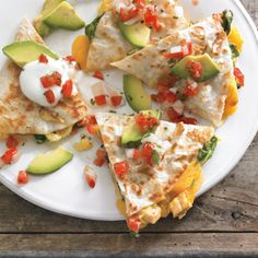 Chicken, Spinach and Avocado Breakfast Quesadillas