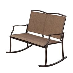 SunLife Sling Glider Rocker Chairs for 2 Person, Loveseats Patio Outdoor Garden Party Bars Cafe, Taupe (Brown), Patio Furniture (Wicker)