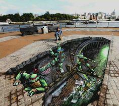 Funny pictures about Teenage Mutant Ninja Turtles Street Art. Oh, and cool pics about Teenage Mutant Ninja Turtles Street Art. Also, Teenage Mutant Ninja Turtles Street Art. 3d Street Art, Amazing Street Art, Street Art Graffiti, Graffiti Artists, 3d Art, 3d Chalk Art, Illusion Kunst, Illusion Art, 3d Sidewalk Art