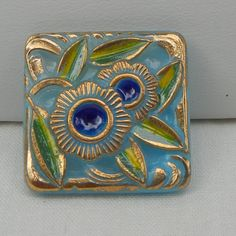 Square Art Deco Style Czech Glass Button on Etsy, $5.00