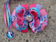 Large Frozen Hair Bow Pink and blue Hair bow Elsa Hair Bow