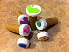 Make stampers for the kids using soda bottle tops and foam stickers - so much fun! (or, why not empty plastic medicine bottles with the lable peeled off?) Recycle/Repurpose/Upcycle