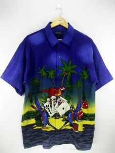 686b324e0 Mogul Hawaii Gambling Beach Birds Coconut Tree View Pattern Abstract  Hawaiian Shirt Buttons Up Hawaii Surf Beach Wear Size XL