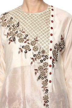 Kurti neck designs with new trend style - ArtsyCraftsyDad Embroidery On Kurtis, Kurti Embroidery Design, Embroidery Suits, Embroidery Fashion, Hand Embroidery Designs, Beaded Embroidery, Salwar Designs, Kurti Neck Designs, Dress Neck Designs
