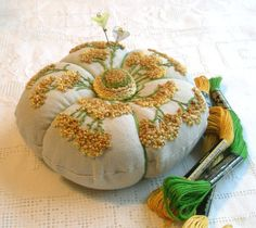 Linen Pincushion with goldenrod