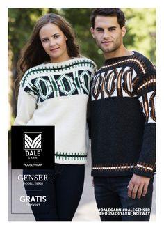 #DaleGarn Free download pattern Unisex genser nr. 289-14 Online Programs, Modern Retro, Knitting Designs, Knits, Free Pattern, Artisan, Graphic Sweatshirt, Unisex, Sweatshirts