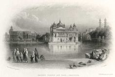 Sacred Temple and Tank – Umritsir From a Sketch by William Carpenter, Engraved by J.C. Armytage, ca. 1854, engraving, SSB Collection Often found on posters and prints this is perhaps the most popular classic image of Darbar Sahib. Carpenter's view prominently features an excellent view of the full frontage of the lost palace immediately to the left of Darbar Sahib