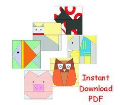 Animals Set of six  paper pieced Pattern quilt blocks INSTANT DOWNLOAD  PDF via Etsy
