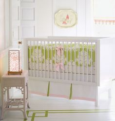 Pretty pink green and white crib set